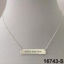 Phrase Engraved Bar Pendant Necklace Elegant Silve Finish Believe. Hope. Faith.