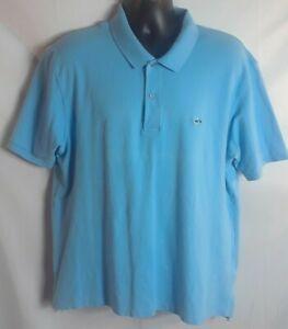 Fish Hippie Mens Polo Shirt XL Blue Fish Logo Short Sleeve Two Button