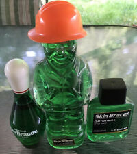 Vtg (3) NOS Mennen SKIN BRACER after shave glass bottles FULL Construction man