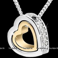 Rose Gold & Silver Crystals Heart Necklace Pendant Chain Womens Jewellery J216A