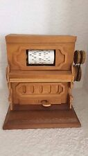 Vintage Chinese Craftsman Wooden Player Piano Music Box Plays Sting