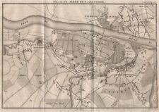 Asedio de Zaragoza 1808. península Guerra. Zaragoza. España 1820 Antiguo Mapa Antiguo