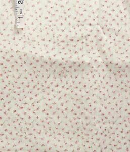 3 yds Tiny Pink,Red Rosebud Print Polyester Shirting Fabric,Apparel,Shirt Cover