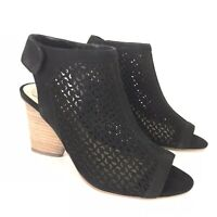 Vince Camuto 6 Wide Black Perforated Leather Peep Toe Sandals Dastana