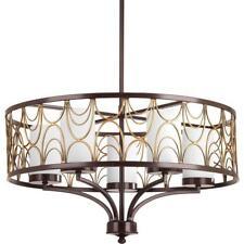 Progress Lighting Cirrine 5-Light Antique Bronze Chandelier with White Glass