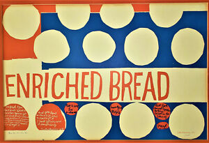 CORITA KENT Vintage Poster ENRICHED BREAD Signed Sister Mary Corita IHM
