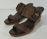Cole Haan Womens NWOB Leather Wedge Sandals Size 8B Slip On Shoes Coffee Brown