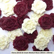 12 Cherry & Cream Sugar Roses edible ruby wedding cake decoration