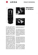 ORIGINAL LEICA PRODUCT INFORMATION SHEETS VARIO APO ELMAR-R F/4 80-200MM LENS