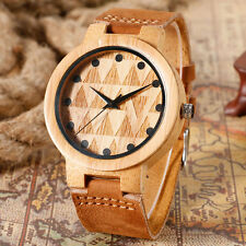 Outdoor Triangle Carving Nature Wood Bamboo Genuine Leather Strap Wrist Watches