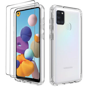 For Samsung Galaxy A21S A20S Shockproof Clear Slim Case Cover + Screen Protector