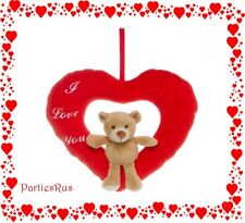 "Valentines Day ""I Love You"" Red Hanging Heart w/ Sitting Teddy Bear 22cm x 26cm"