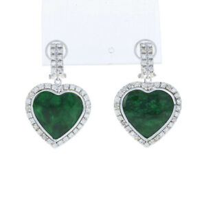 White Gold Jadeite & Diamond Earrings - 14k Round Brilliant 3.12ctw Heart Halos