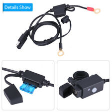 Motorcycle SAE to Dual USB Waterproof Phone GPS Charger Cable Adapter W/ Holder