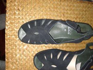 Spring Step Sandals Black suede New size 41 wedge heel sling back