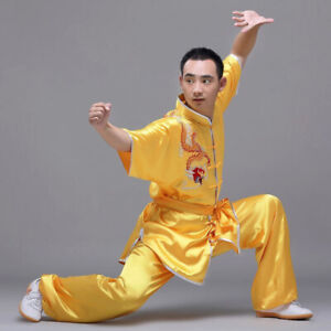 Silk Kung Fu Tai Chi Uniform Martial Arts Suit Outfit Dragon Embroidery 4 Colors