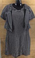 Ann Taylor Loft Womens Full Suit Dress Jacket Blazer Size 10 Black White Circles