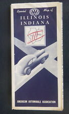 1952 Illinois Indiana road map  AAA  highway road  map  oil  gas route