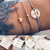 3Pcs/Set Women Boho Gold Heart Love Mama Beads Chain Bracelet Bangle Jewelry Hot