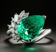 Colombian Emerald 4.48 Carat Pear Shape Stone Women's Engagement Silver Ring