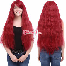 Women Long Rhapsody Curly Wave Fluffy Red Synthetic Cosplay Wig C61