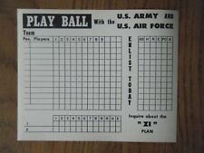 Us Army vs Us Air Force Baseball score card dated 1948 - unused & double sided