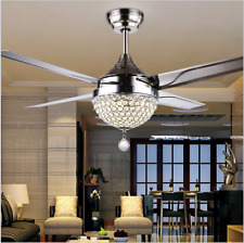44 Crystal Ceiling Fan Light LED Pendant Lamp Remote Control Stainless Steel