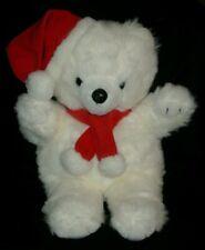 "16"" VINTAGE CUDDLE WIT CHRISTMAS SANTA TEDDY BEAR WHITE STUFFED ANIMAL PLUSH TOY"