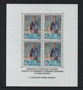 DAHOMEY 1967 AIR. DR ADENAUER COMMEMORATION M/SHEET (MS295) *VF MNH*