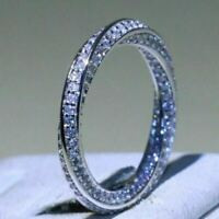 1Ct Pave VVS1/D Diamond Full Eternity Ladies Wedding Band 14K White Gold Finish