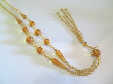 ANTIQUE ART DECO AMBER CZECH GLASS KNOTTED BEAD LONG FLAPPER SAUTOIR NECKLACE