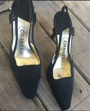 Chanel Black Shoes Slingback Classic Design 37