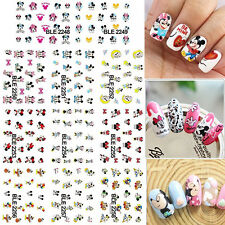 11 Sheets Large Disney Mickey Minnie Mouse Water Transfer Nail Art Sticker