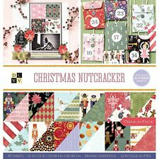 "American Crafts DCWV 12"" x 12"" Christmas Nutcracker Paper Stack - Gold Glitter"