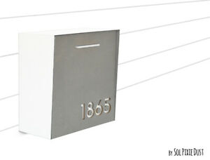 Modern Mailbox Concrete Face, Pure White Body and White Acrylic numbers, Type 1