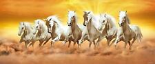 """Horses Canvas 7 White Running Art Painting for Good Luck Wall Hanging 48"""" Poster"""