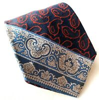 "Vintage RENLEIGH Men's Blue Navy Red Paisley Striped Neck Tie 56"""