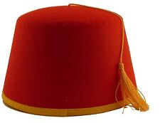Fez Hat Costume Red Cap Gold Tassel Adult Halloween Fancy Dress Ushanka Turkish
