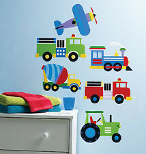 WALLIES TRANSPORTATION giant wall stickers MURALS 6 decals TRAIN AIRPLANE TRUCKS