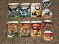4 Game Bundle Lego Batman Pure Indiana Jones Kung Fu Panda Xbox 360 Tested Lot