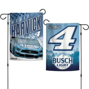 "KEVIN HARVICK #4 BUSCH LIGHT 12""X18"" 2 SIDED GARDEN FLAG WINCRAFT 👀🏁"