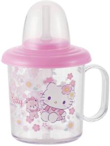 Sanrio Hello Kitty Japan Sakura Pink Water Bottle Cup w/ Straw Handle 210mL New