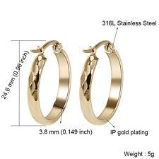 316L Stainless Steel Fashion Women Ladies Round Gold/Silver Hoop Earrings Nice