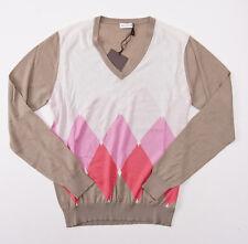 NWT $900 BALLANTYNE 100% Cashmere Sweater S (Eu 48) Tan-Pink-White Argyle