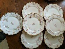"""HAVILAND LIMOGES FRANCE  SCHLEIGER 91a Pink & Blue Flowers 7 Salad Plates 7 1/4"""""""