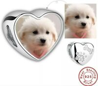 PERSONALISED DOG CHARM ENGRAVED 925 GENUINE REAL STERLING SILVER PHOTO PET PAW
