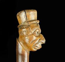 Canne à pommeau caricature en bois sculpté carved wood pommel cane art populaire