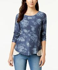 Style & Co Long Sleeve Mix 2fer Top  Navy Large