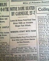 NOTRE DAME Fighting Irish Football 1ST HOME LOSS 23 Years Rockne 1928 Newspaper