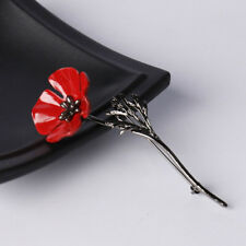 Hot Brooch Black Gold Poppy Rhinestone Women& Men Jewelry Accessories Gift